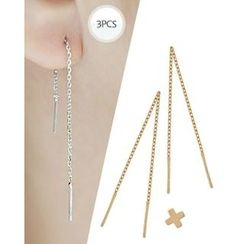 Miss21 Korea - Set: Cross Stud Earring + Chain Threader Earrings (3 pcs)