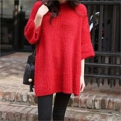 ERANZI - 3/4-Sleeve Long Knit Top