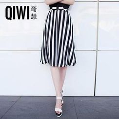 QIWI - Bow-Accent Striped Midi Skirt