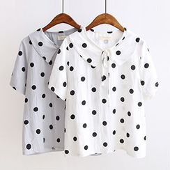 Angel Love - Short-Sleeve Dotted Tie Neck Blouse