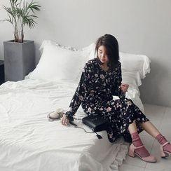 NANING9 - Floral Print A-Line Chiffon Dress