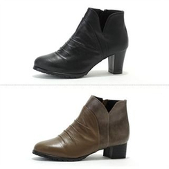 MODELSIS - Genuine Leather Zip-Side Boots(2 Designs)