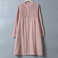 Rosadame - Pleated Stand Collar Long-Sleeve Shirtdress