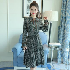 Mandalle - Print Long-Sleeve Chiffon Dress