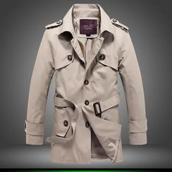 Bay Go Mall - Single-Breasted Trench Jacket