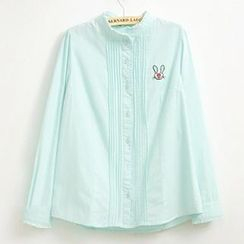 Jill & Jane - Long-Sleeve Frilled Pintuck Blouse