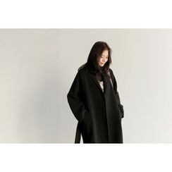 UPTOWNHOLIC - Open-Front Wool Blend Coat With Sash