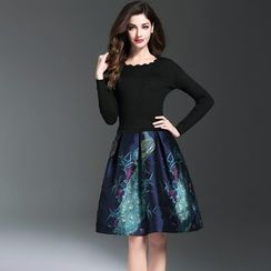 Elabo - Knit Panel 3/4-Sleeve Jacquard A-Line Dress
