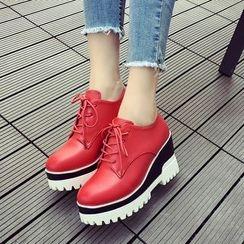 ZIMA - 繫帶厚底船跟鞋
