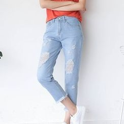 Sens Collection - Distressed Fray Hem Cropped Jeans