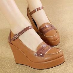Mancienne - Ankle-Strap Panel Wedges