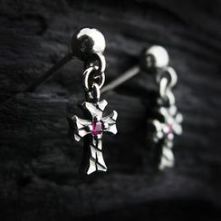 Sterlingworth - Sterling Silver Ruby Cross Single Earring