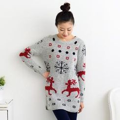59 Seconds - Nordic Print Long Sweater