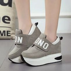Wello - Lettering Velcro Platform Sneakers