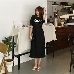 QNIGIRLS - Set: Short-Sleeve Lettering T-Shirt + Band-Waist Long Skirt