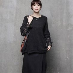 HALUMAYBE - Raglan-Sleeve Lace-Trim Top