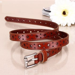 BAIEKU - Genuine Leather Cut Out Belt