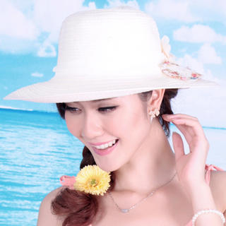Momiton - Flower-Accent Straw Sun Hat