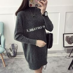 Qimi - Lettering High Neck Knit Dress