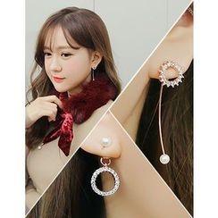 soo n soo - Rhinestone Faux-Pearl Earrings