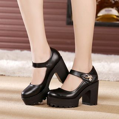 Hannah - Genuine Leather Platform Buckled Block Heels