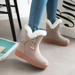 Pretty in Boots - Bow Hidden Wedge Short Snow Boots