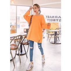 J-ANN - Drop-Shoulder Oversized Long T-Shirt