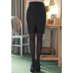 MyFiona - Cutout-Hem Wool Blend Pencil Skirt