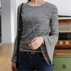 CHICFOX - Bell-Sleeve Mélange T-Shirt