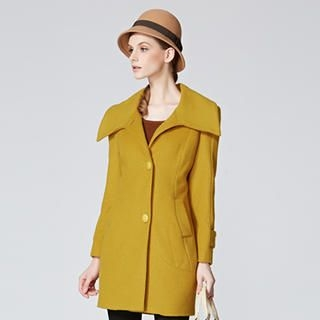 O.SA - Wool-Blend Wide Collar Buttoned Coat