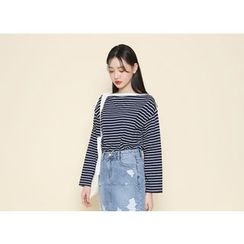Envy Look - Drop-Shoulder Striped T-Shirt