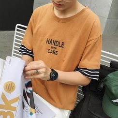 Bay Go Mall - Striped Cuff Lettering Elbow-Sleeve T-Shirt
