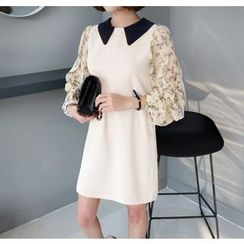 Miamasvin - Collared Flower Pattern Chiffon-Sleeve Mini Dress