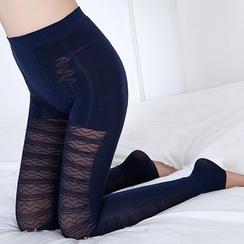 Meigo - Fleece Lined Lace Panel Leggings