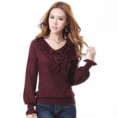 O.SA - Wool-Blend V-Neck Bow-Accent Ruffle Sweater