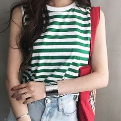 NANING9 - Crew-Neck Stripe Tank Top