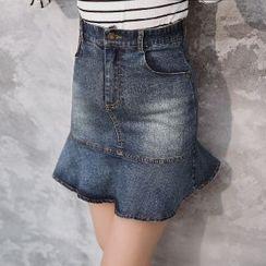 Romantica - Ruffle Denim Skirt