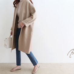 DAILY LOOK - Open-Front Angora Wool Blend Coat