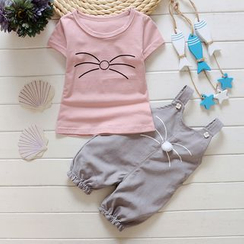POMME - 小童套裝: 貓鬚印花短袖T恤 + 背帶褲