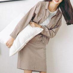 MIKPO - Set: Pocketed Denim Jacket + Plain Mini Skirt