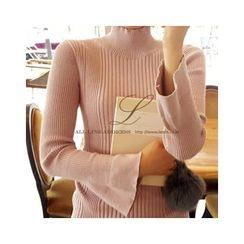 LEELIN - Turtle-Neck Bell-Sleeve T-Shirt