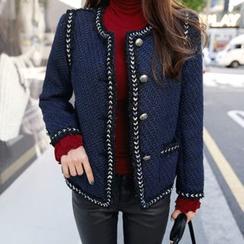 DABAGIRL - Contrast-Trim Buttoned Tweed Jacket