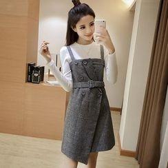 Angel Shine - 套裝: 格子吊帶裙 + 長袖上衣