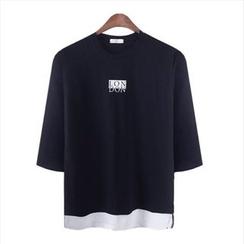 WIZIKOREA - 3/4-Sleeve Lettering T-Shirt