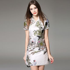 Y:Q - Short-Sleeved Embroidered Qipao Dress
