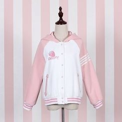 Jade Dragon - Strawberry Embroidered Striped Hooded Jacket
