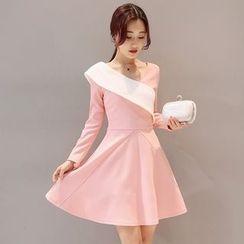 Mandalle - Color Panel Long Sleeve A-Line Dress