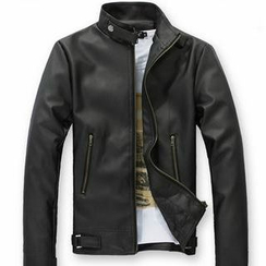 Free Shop - Tab-Collar Faux Leather Jacket