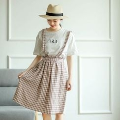 Mushi - Check Midi Pinafore Dress