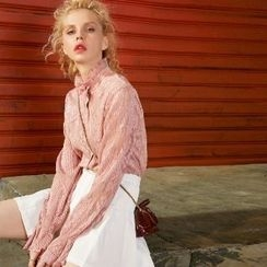 ELF SACK - Long-Sleeve Frilled Collar Bow-Accent Blouse